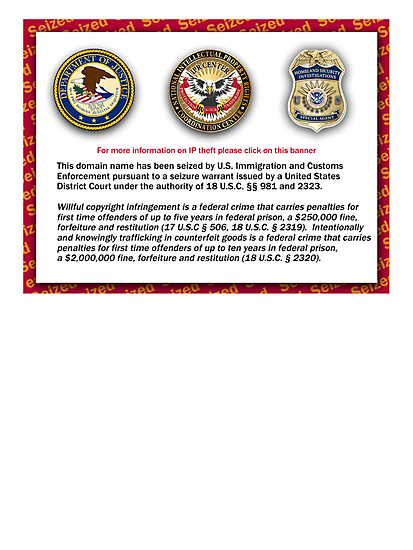 Domain seized by the US Department of Justice by suranyami