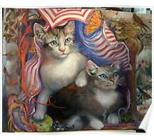 Completed painting...Kittens Day At The Beach Poster