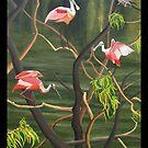 "99. ""Spoonbills Roosting in High Island, Texas."" by amyglasscockart"