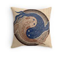 yin yang fish, shuiwudao mandala Throw Pillow