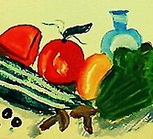 Salad makings , watercolor by Anna  Lewis