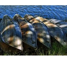 5 row boats in a row Photographic Print