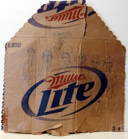 characters drawn on cardboard beer carton by Stacey Lazarus