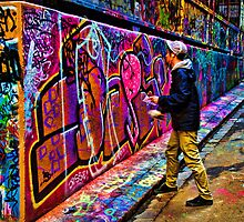 Hard at Work - Hosier Lane Melbourne by Graeme Buckland
