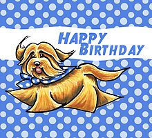 Havanese Polka Dots Birthday Card by offleashart