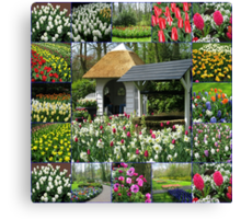 Wishing Well - Colourful Keukenhof Collage Canvas Print