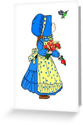 Beautiful Sunbonnet Girl and Hummingbird Greeting Card by dorcas13