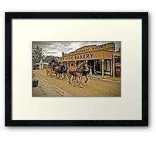 Coach passing New York Bakery - Main Street, Sovereign Hill Framed Print