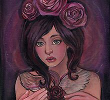 Art Nouveau inspired Girl with Rose WingsTattoo by KatCanPaint