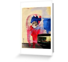 night hawkes with abstract sky and full moon Greeting Card