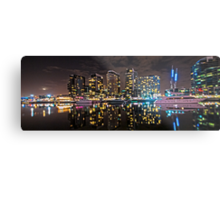Melbourne's Docklands Harbour by Night Metal Print