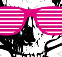 Cool white skull with magenta sunglasses Sticker