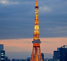 Tokyo Tower at dusk - Japan by Norman Repacholi