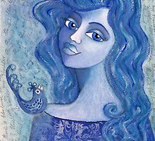 Bluebird on my Shoulder by Lisa Frances Judd~QuirkyHappyArt