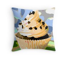 Chocolate Cupcakes with Vanilla Frosting Throw Pillow