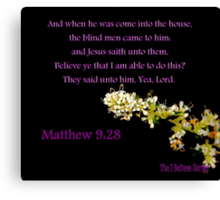 Matthew 9:28 - BELIEVE ye that I am able to do this? Canvas Print