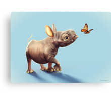 Baby Rhino and Butterfly Canvas Print