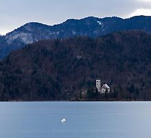 View across frozen Lake Bled by Ian Middleton