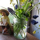 "Jar of ""weeds"" and figurine by Barbara Wyeth"