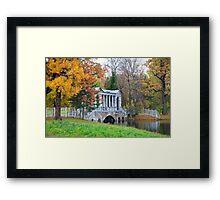 Marble Bridge in the park Tsarskoye Selo, Russia  Framed Print