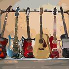 Rack of Guitars by arline wagner
