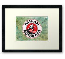 Retro Pan-Am Motor Oils Sign Reproduction Framed Print