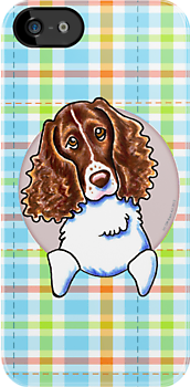 Springer Spaniel Pretty Plaid by offleashart