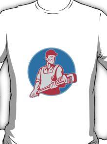 Plumber Worker Monkey Wrench Retro T-Shirt
