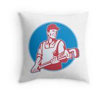 Plumber Worker Monkey Wrench Retro Throw Pillow