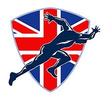 Runner Sprinter Start British Flag Shield by patrimonio