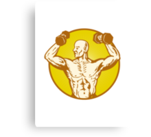 male human anatomy body builder flexing muscle Canvas Print