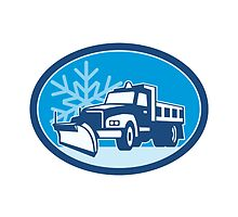 Snow Plow Truck Retro by patrimonio