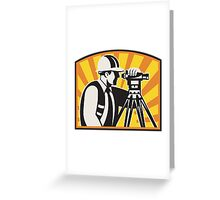 Surveyor Engineer Theodolite Total Station Retro Greeting Card