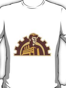 Factory Worker Building Gear Cog Retro T-Shirt