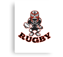 Maori Mask Rugby Player standing With Ball Text Canvas Print