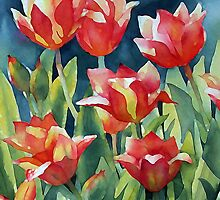 Sunlit Tulips enhanced by Ann Mortimer
