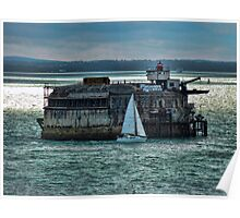 Portsmouth Defence Fort With Sail Boat Poster