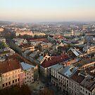 Lviv centre on sunset by Anton Gorlin