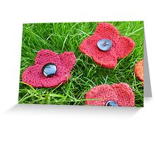 Hand Knitted Poppies Greeting Card