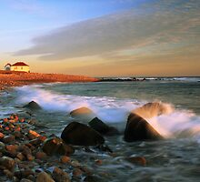 Point Judith Lighthouse Seascape by Roupen  Baker