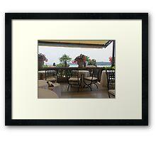 "THE PEARL OF LAKE GARDA ...SALO' .Italy - Europe -"" tables and Chairs a Veranda on Lake Garda -RB EXPLORE VETRINA 20 LUGLIO 2012 --           Framed Print"