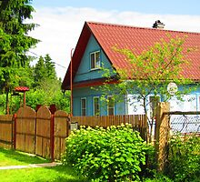 Cornflower Blue Dacha of Kartashevskaya by M-EK