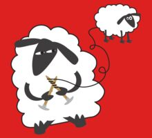 Funny sheep knitting stealing wool yarn Kids Clothes