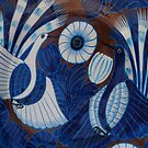 Mexican Plate with Blue Birds - Plato Mexicano con Pajaros Azules by PtoVallartaMex
