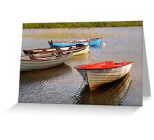 Fishing Boats In The Evening Sun Greeting Card