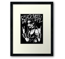 Black Metal Chick Framed Print