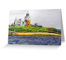352 - COQUET ISLAND - DAVE EDWARDS - COLOURED PENCILS & INK - 2012 Greeting Card