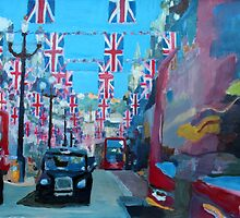 Rule Britannia - London covered with Union Jack Flags I by artshop77
