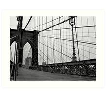 Brooklyn Bridge, New York City (Black and White) Art Print