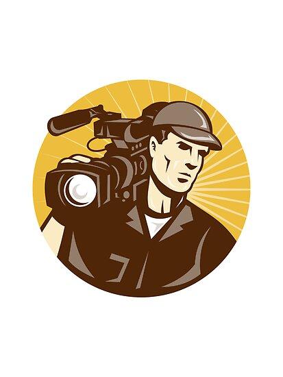 Cameraman Film Crew Pro Video Movie Camera by patrimonio